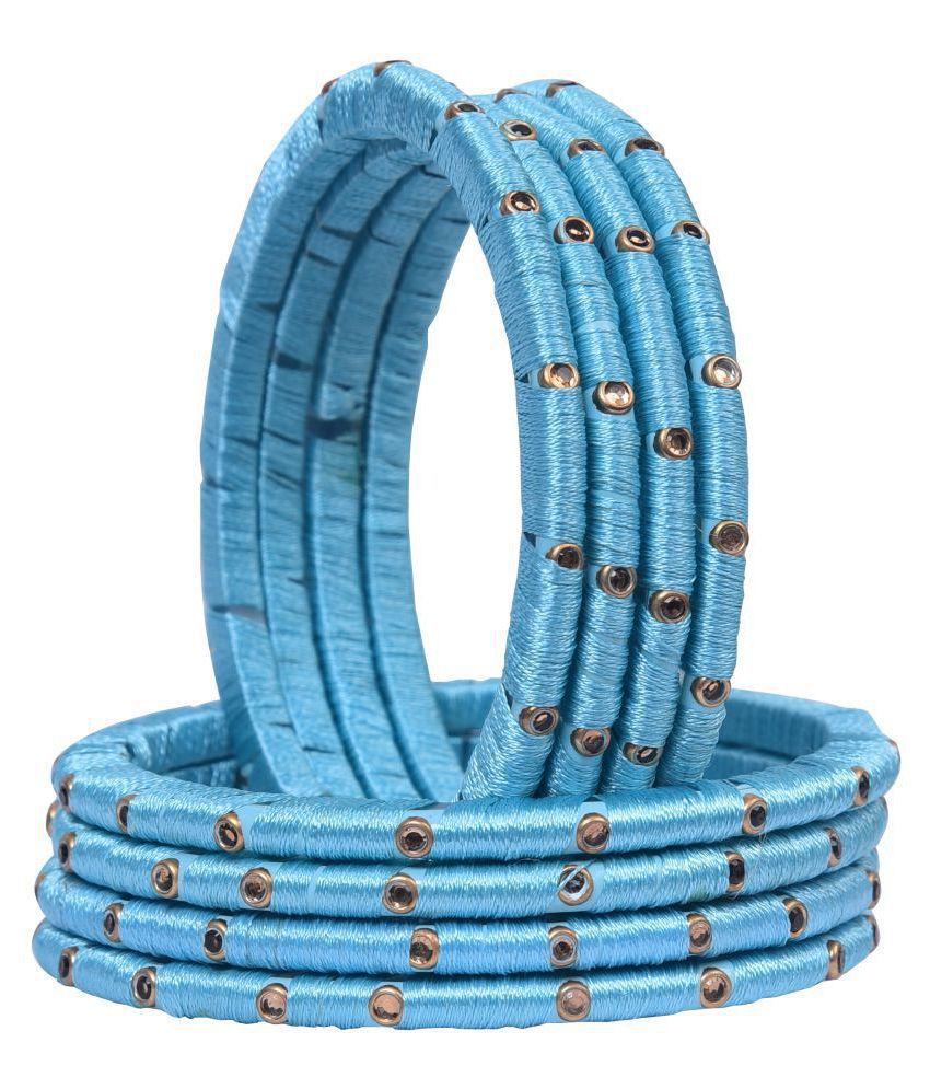 Sukriti Partywear Silk Thread Acrylic Sky Blue Bangles for Girls, Women - Set of 8