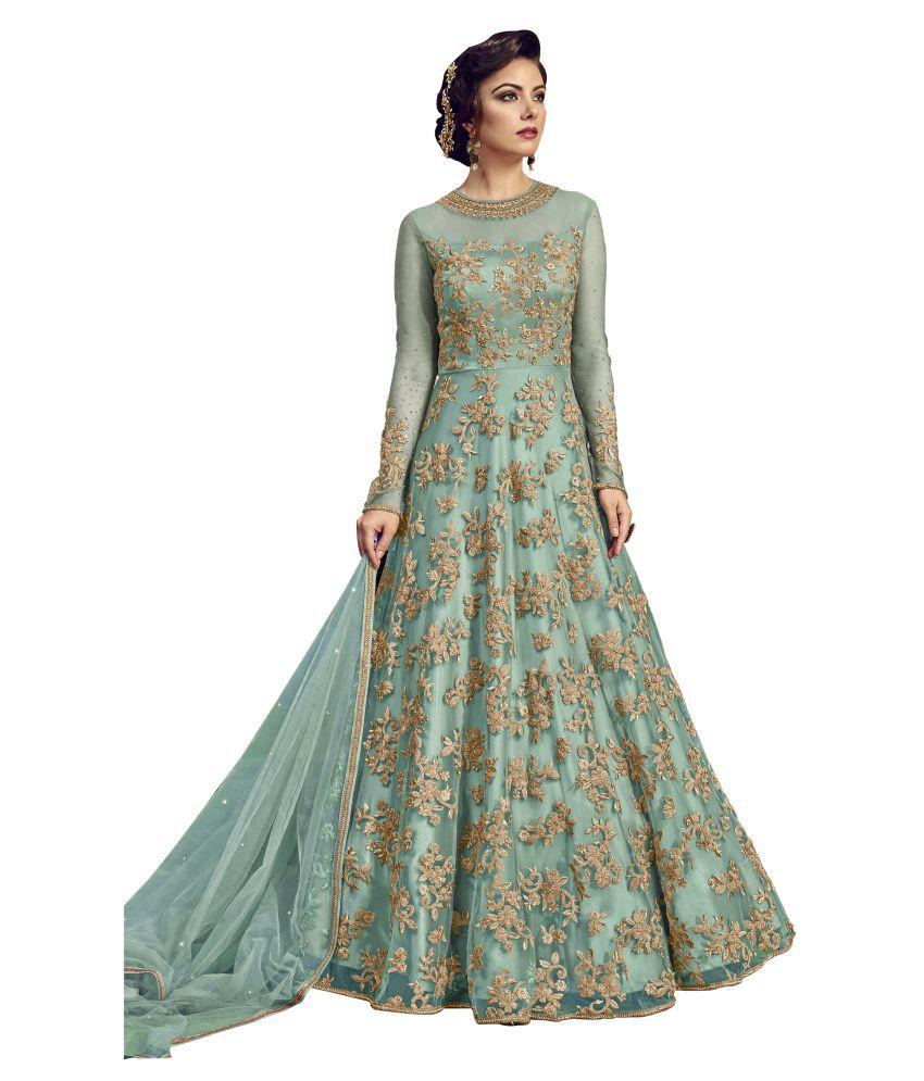1dd186d35846 YOYO FASHION Blue Net Anarkali Gown Semi-Stitched Suit - Buy YOYO FASHION  Blue Net Anarkali Gown Semi-Stitched Suit Online at Best Prices in India on  ...