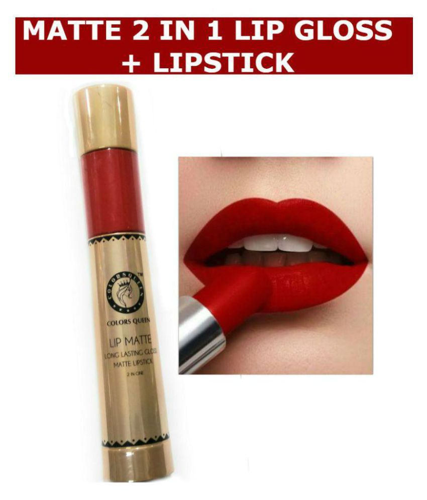 COLORS QUEEN 2 In 1 Matte Lip Gloss 10 ml and Lipstick Bride Red 2.5 gm