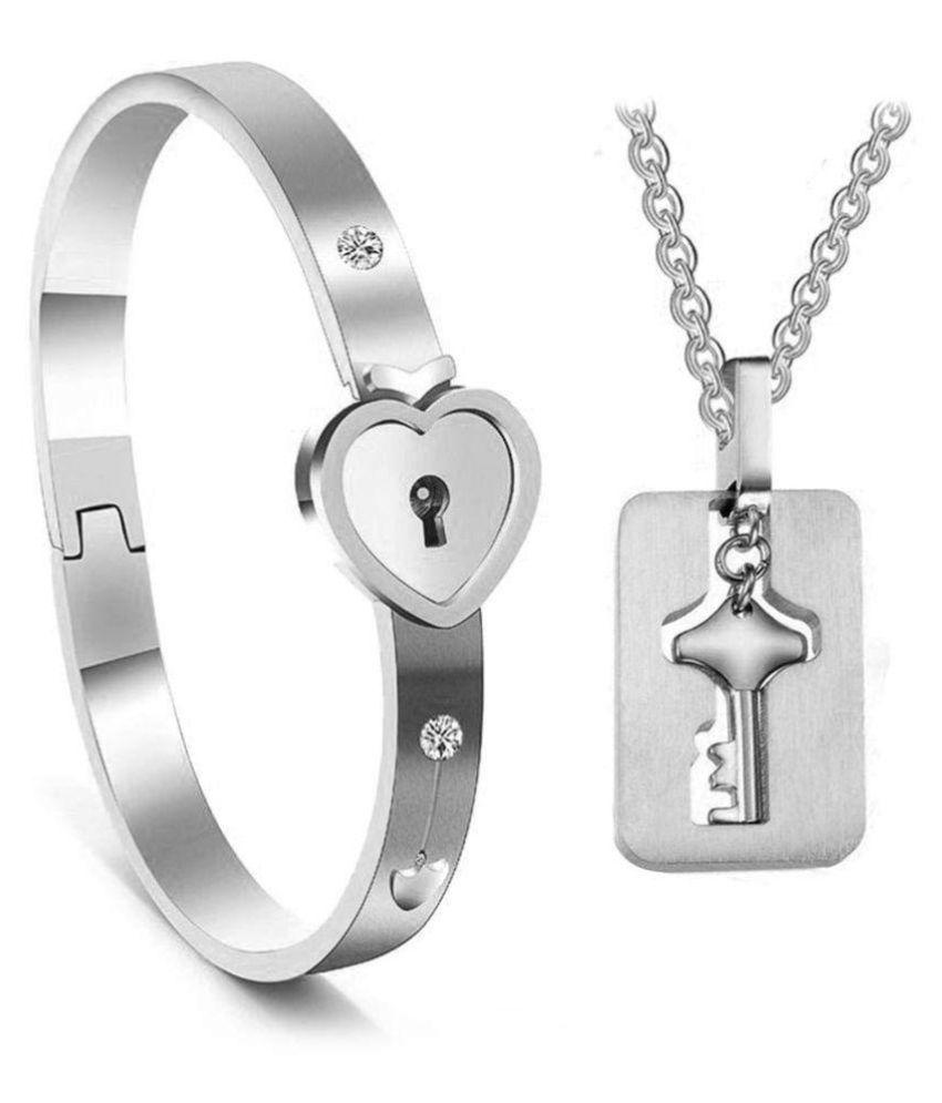 51b1026f9f330 Couple Jewelry Sets Lock & Key - Bracelet & Locket - Valentine Gift