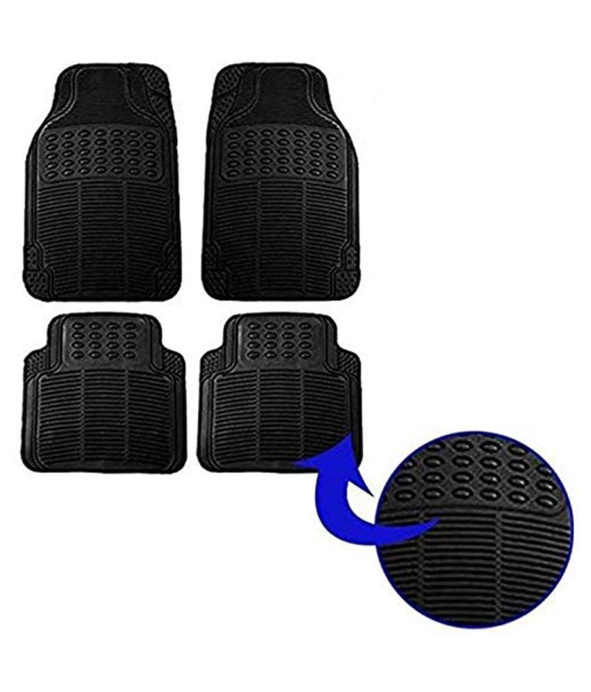 Ek Retail Shop Car Floor Mats (Black) Set of 4 for HyundaiEONLPGEraPlusOption(LPG)