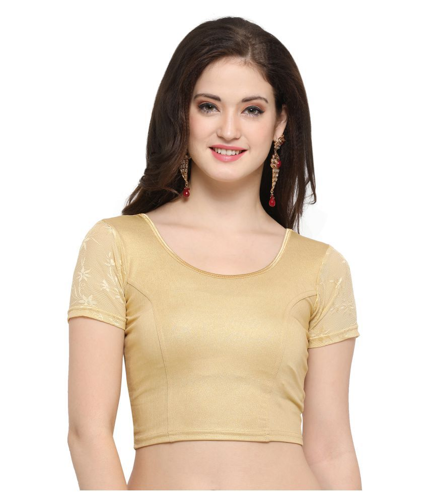 Janasya Gold Lycra Readymade without Pad Blouse