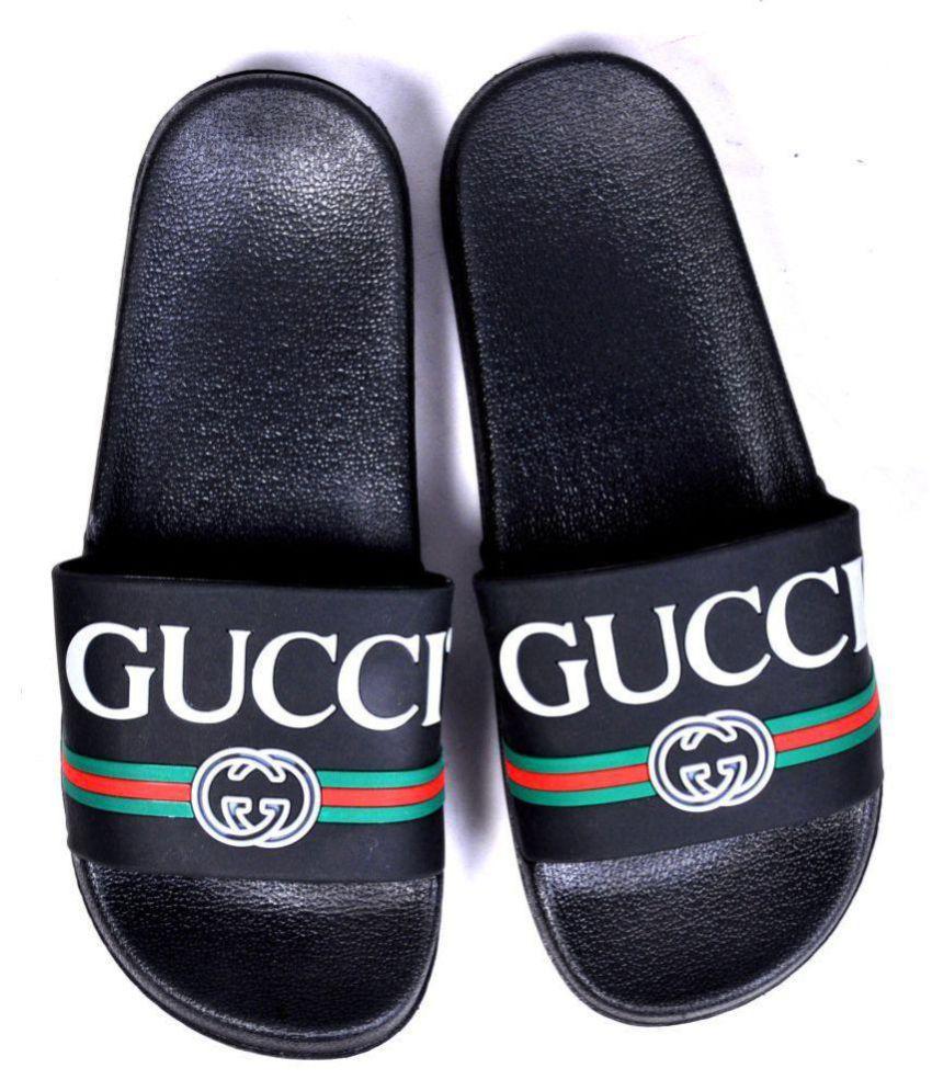 adf3a7450b05 Gucci Black Slide Flip flop Price in India- Buy Gucci Black Slide Flip flop  Online at Snapdeal