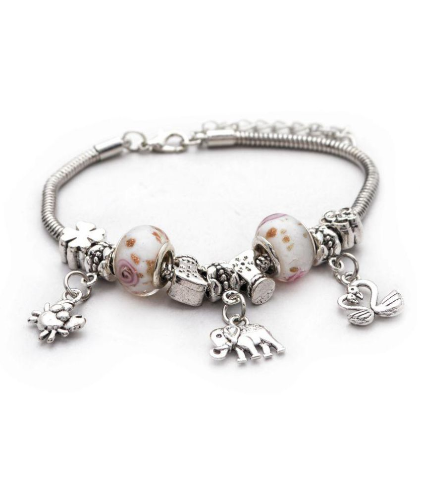 Silver toned with pinkish white bead charm bracelet
