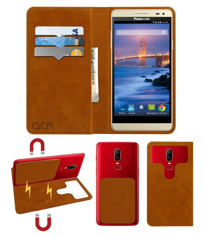 Panasonic Eluga I2 Flip Cover by ACM - Golden 2 in 1 Detachable Case,Attachable Flip With Magnet