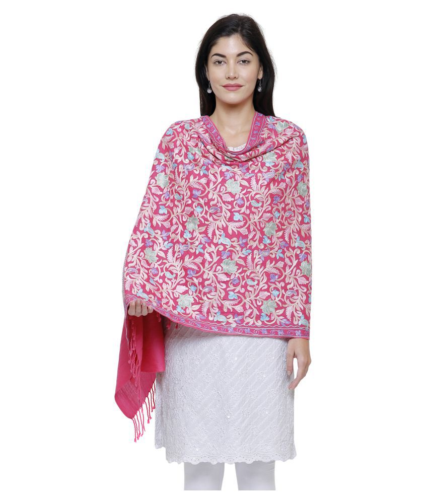 Anekaant Pink Floral Shawl
