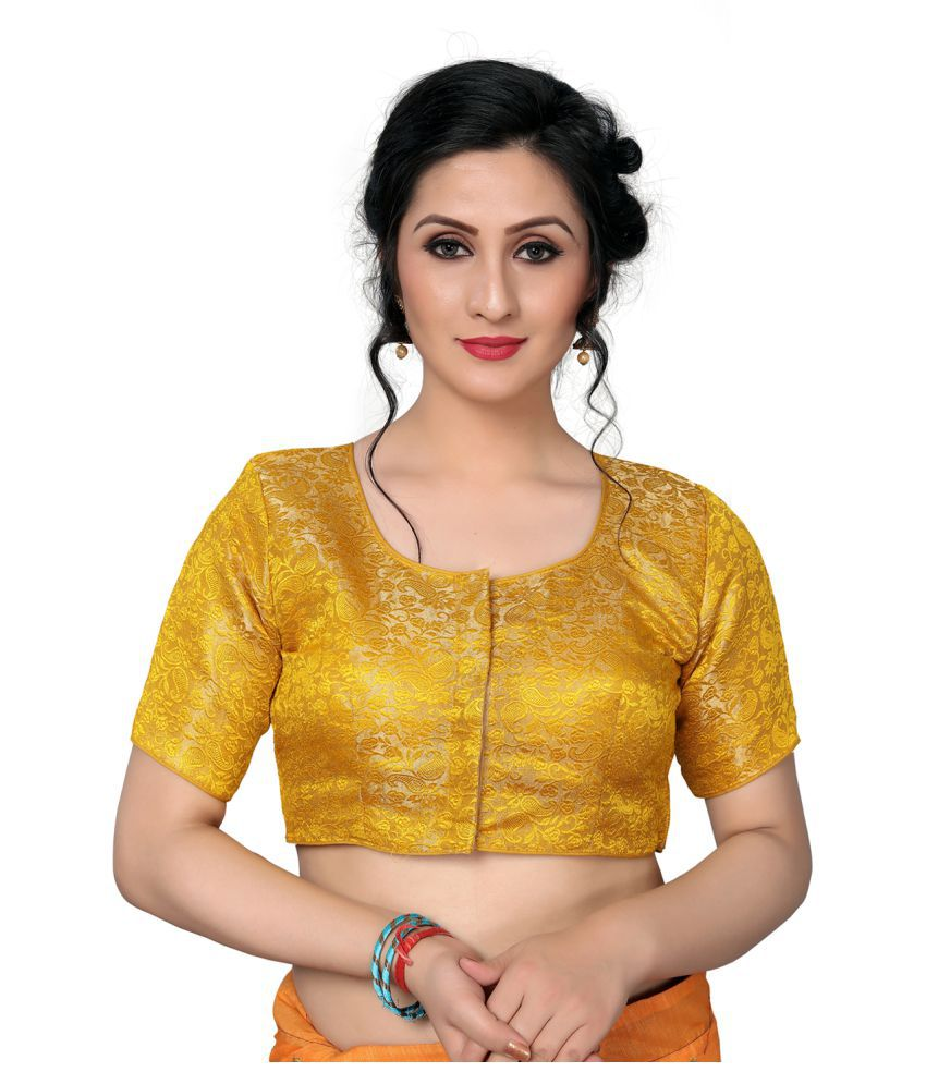 Fab Dadu Yellow Jacquard Readymade with Pad Blouse