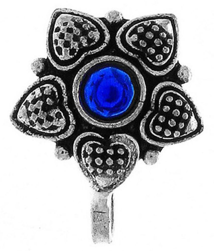 Anuradha Art Silver Oxide Finish Styled With Blue Colour Stone Designer Press On Nose Ring/Pin For Women/Girls