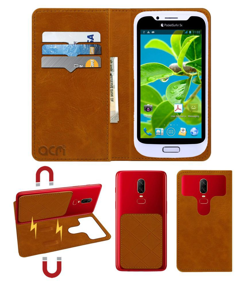 Datawind Pocket Surfer 5x Flip Cover by ACM - Golden 2 in 1 Detachable Case,Attachable Flip With Magnet