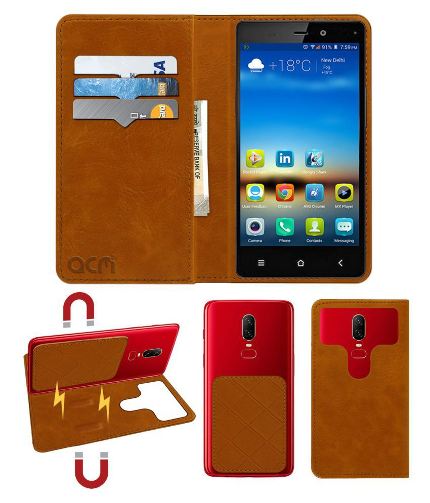 Gionee Elife E6 Flip Cover by ACM - Golden 2 in 1 Detachable Case,Attachable Flip With Magnet