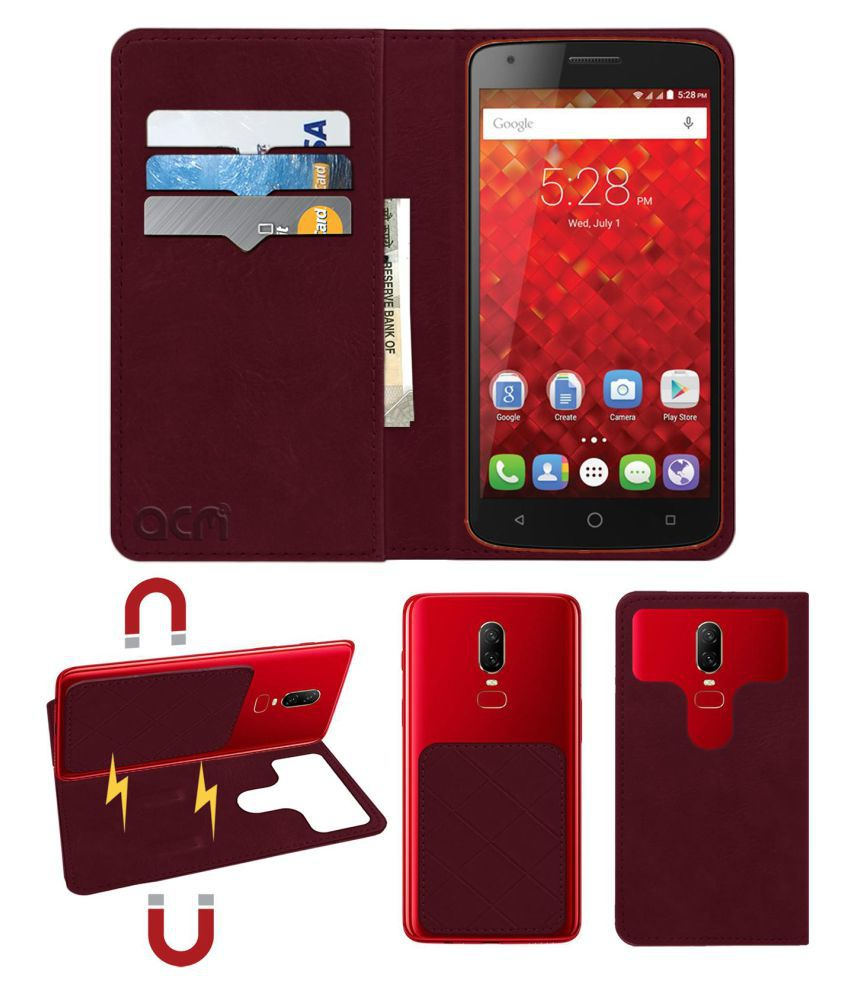 Panasonic P50 Idol Flip Cover by ACM - Red 2 in 1 Detachable Case,Attachable Flip With Magnet