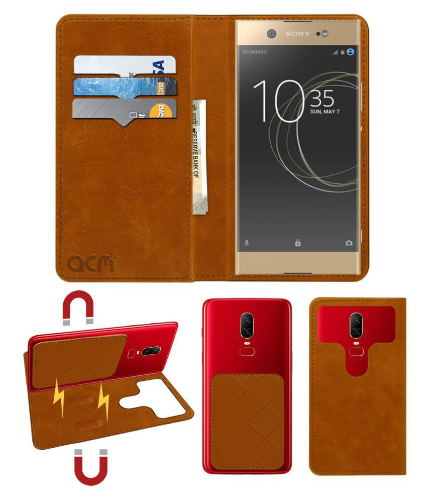 Sony Xperia Xa1 Ultra Dual Sim Flip Cover by ACM - Golden 2 in 1 Detachable Case,Attachable Flip With Magnet