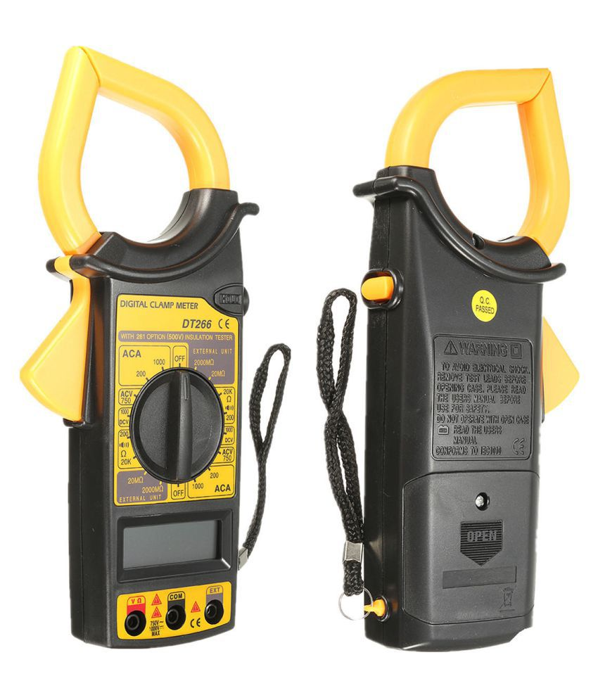 Auto Ranging Clamp Multimeter with AC Current, AC/DC Voltage DT266 Electronic Digital Clamp Meter Multimeter AC Current AC DC Voltage Diode Tester Tool for Measuring AC/DC Current Voltage Tester Clamp Multimeter with Test Cable for Measuring Tools DM266