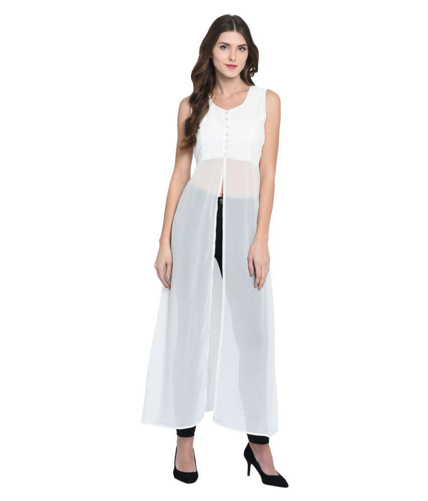 Triraj Georgette White A- line Dress
