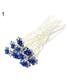 10 Pcs Women Fashoin Silver Plated Rhinestone Rose Flower Hair Pin Clip Hairpin