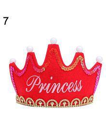 LED Light up Princess King Happy Birthday Crown Cap Headband Christmas Party