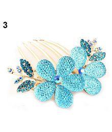 Women Fashion Floral Design Alloy Rhinestone Barrette Hair Clip Comb Hairpin