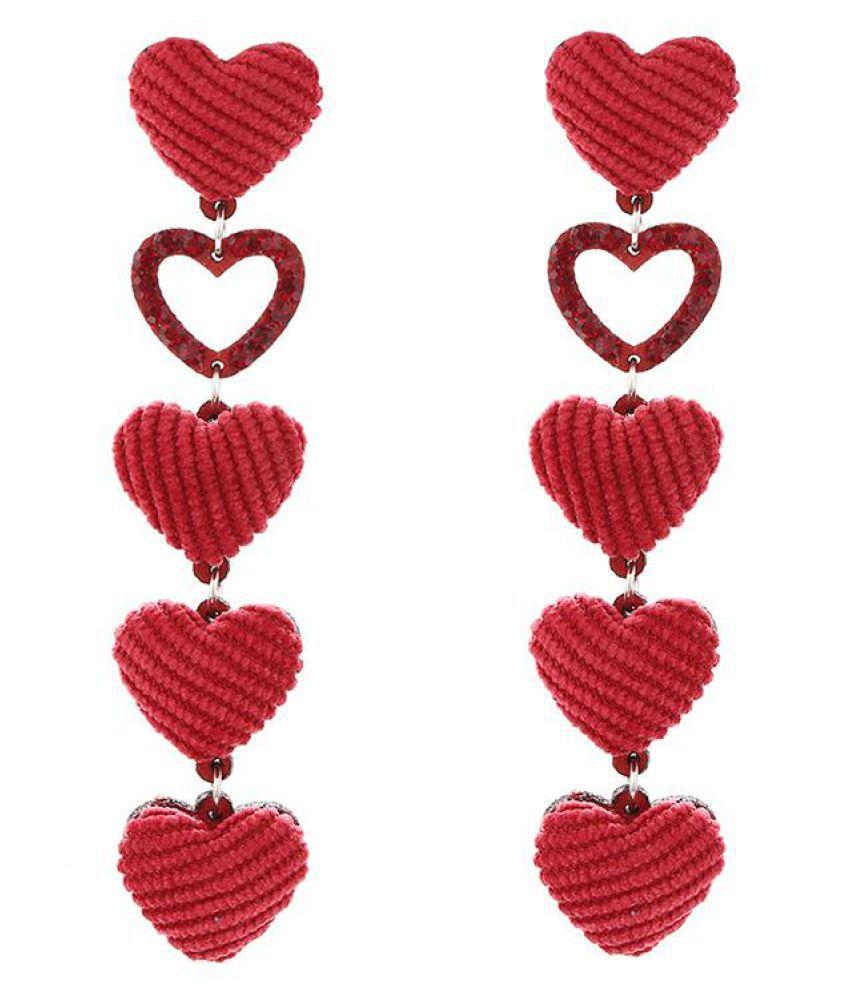 Women Dangle Love Heart Charm Pendant Long Drop Earrings Party Jewelry Fashion Jewellery