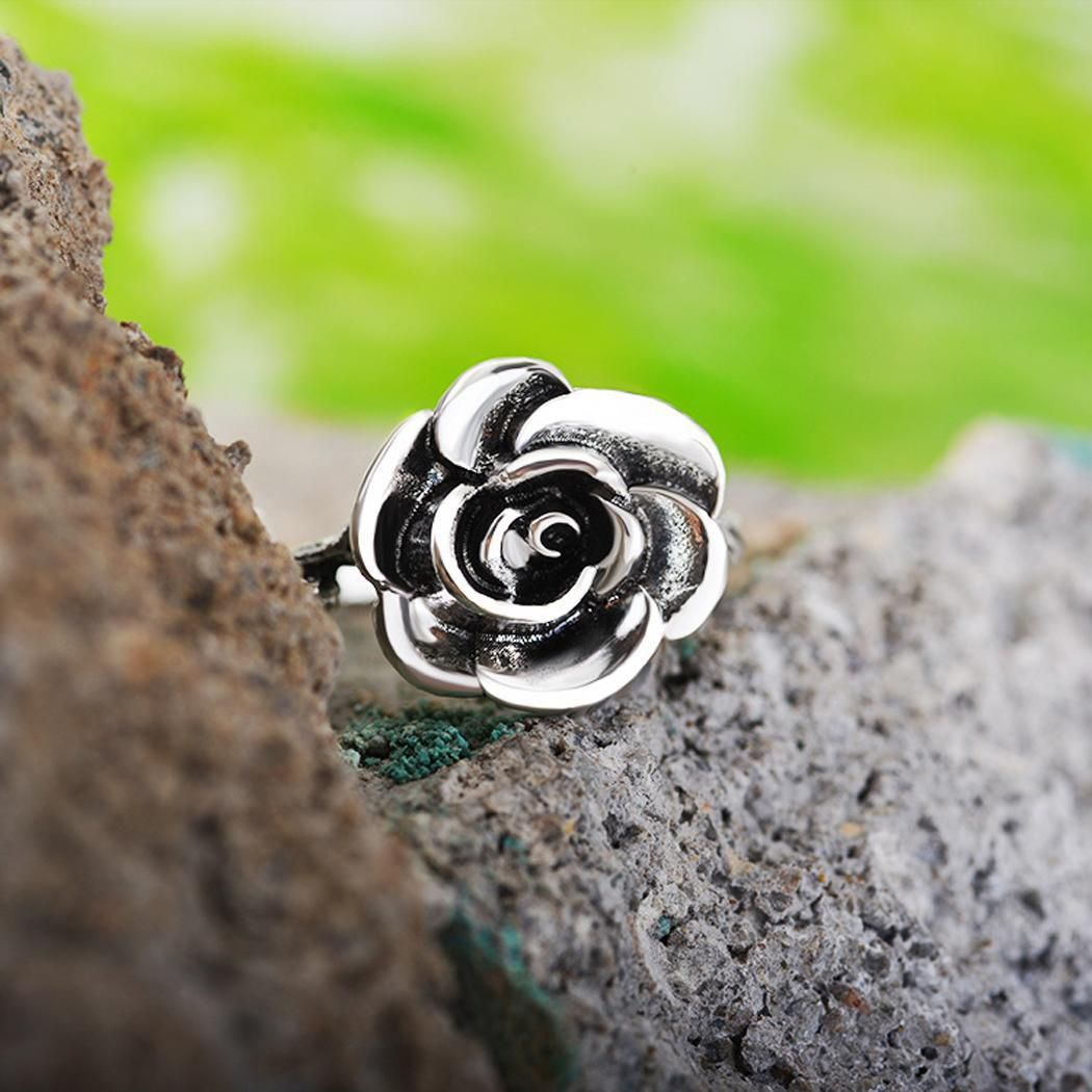 Women Fashion Vintage Style Silver Color Vintage graved Rose Ring Fashion Jewellery
