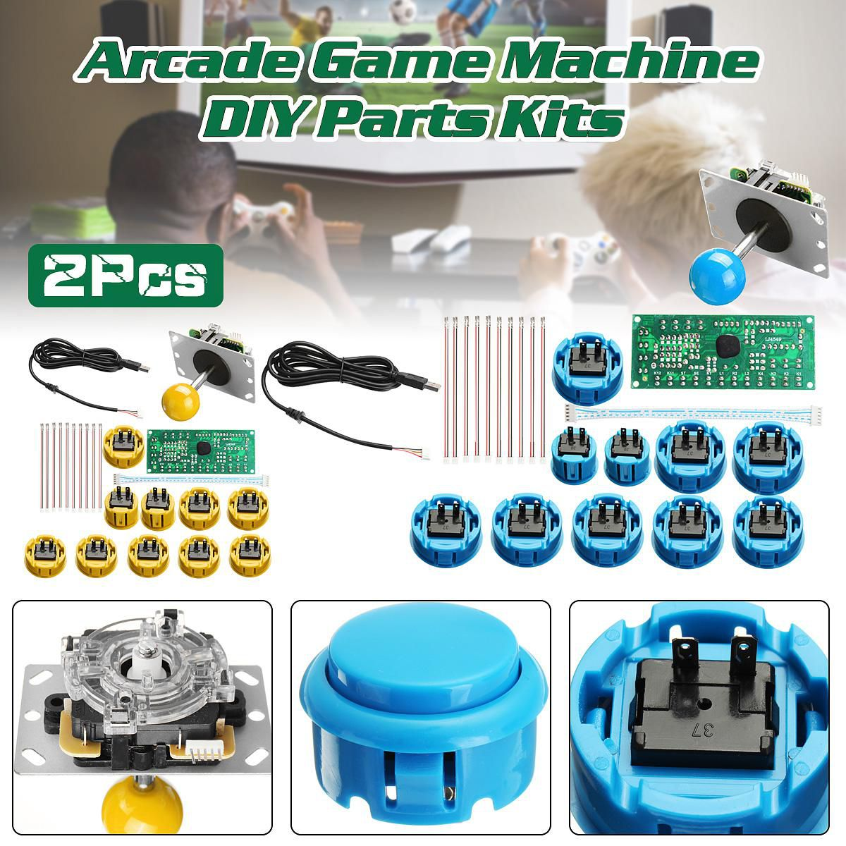 2pcs Arcade Mame Game DIY Kit Parts Push Buttons + Joysticks + USB Encoders
