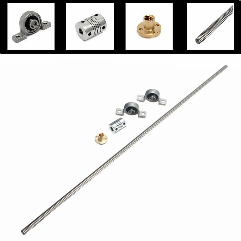 GOCHANGE 3D Printer Accessories Kit, T8 500mm Stainless Steel Lead Screw,  8mm Nuts, Coupling Shaft, Mounted Ball Bearing - for 3D Printer Parts