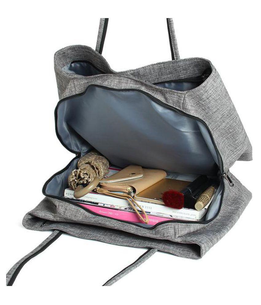 Women  Canvas Vintage 3 Main Pockets Casual Handbag