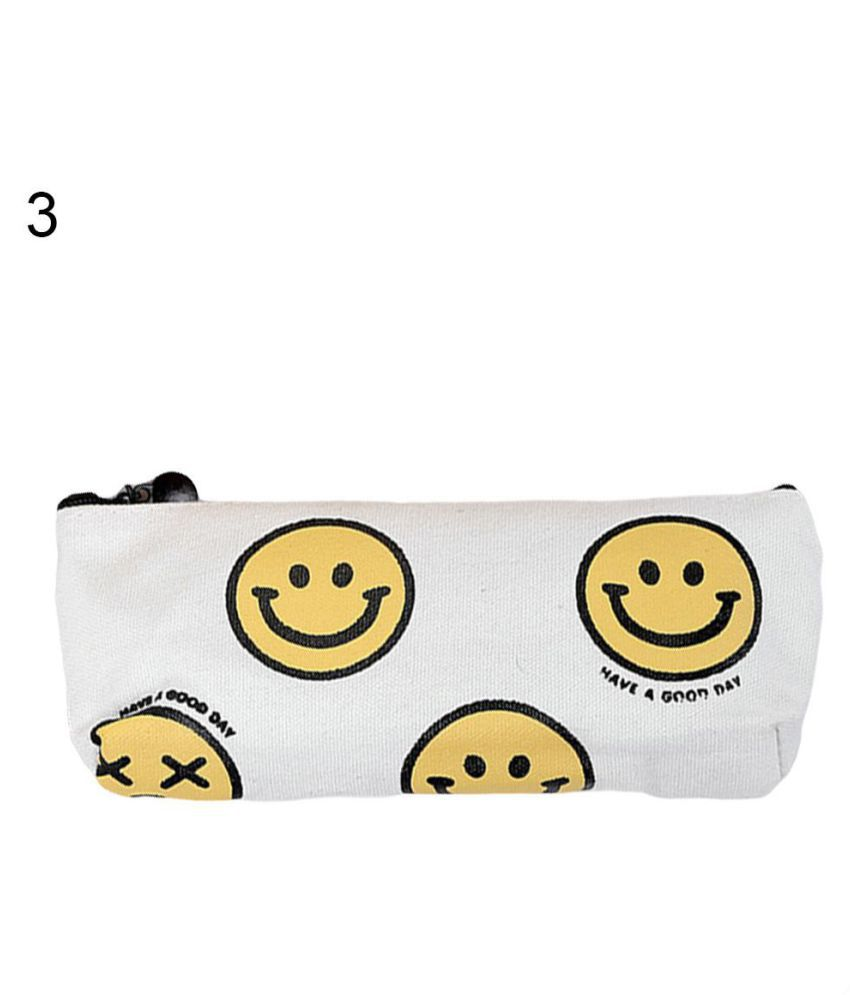 Smile Emoji Pencil Case Stationery School Supply Student Canvas Pen Box Gift