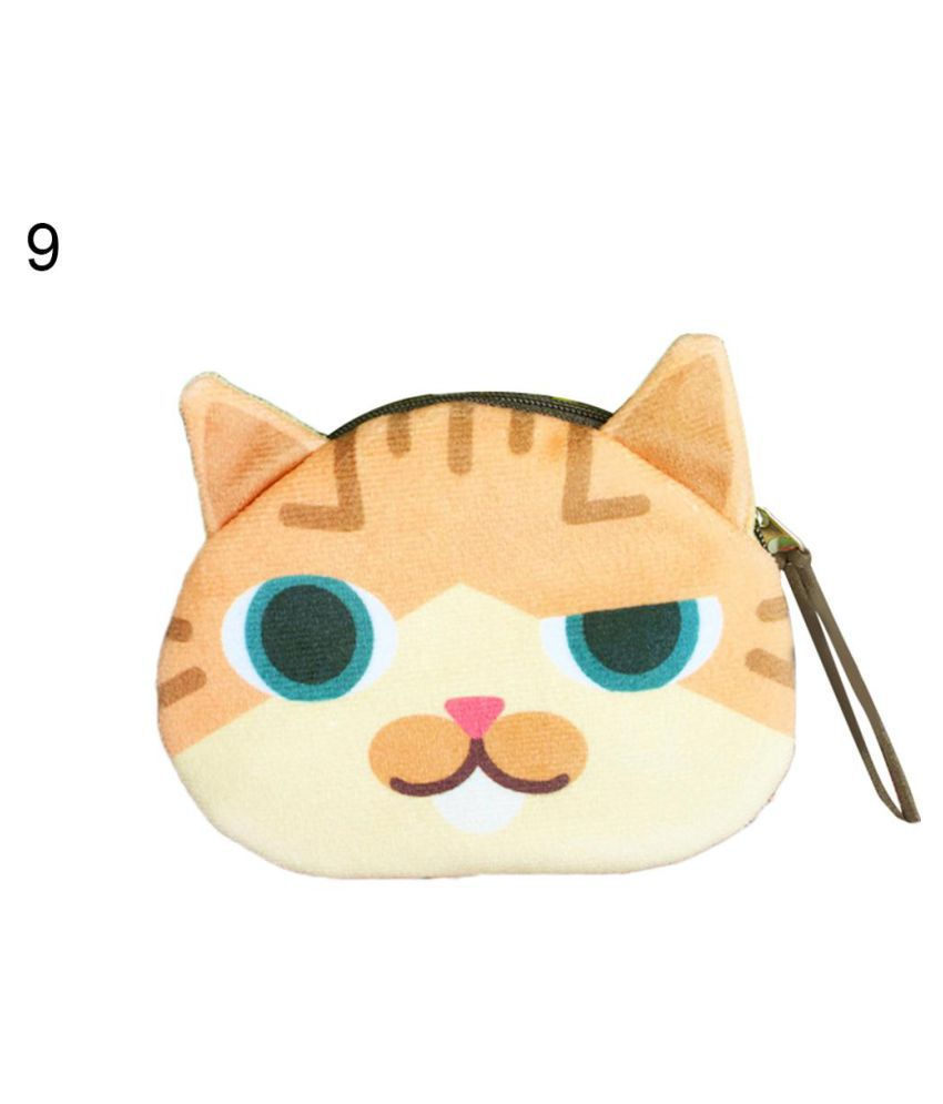 Unisex Cute Cartoon Cat Print Wallet Card Hold Zipper Coin Purse Clutch Gift