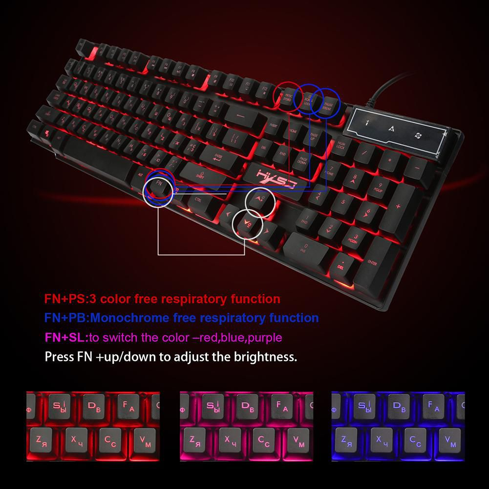 English Russian 3 Colors 104 Keys Keyboard Backlight Wired