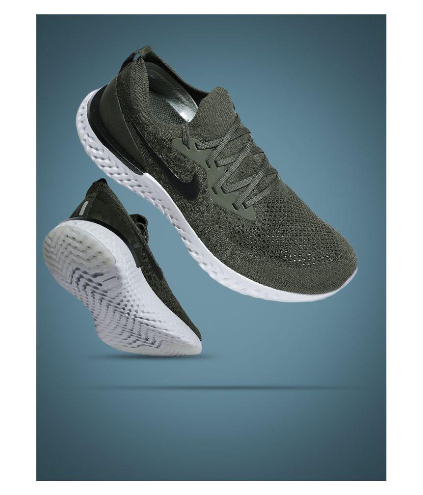 brand new f5a4d b798d nike epic react flyknit shoes Olive Running Shoes Price in India- Buy nike  epic react flyknit shoes Olive Running Shoes Online at Snapdeal