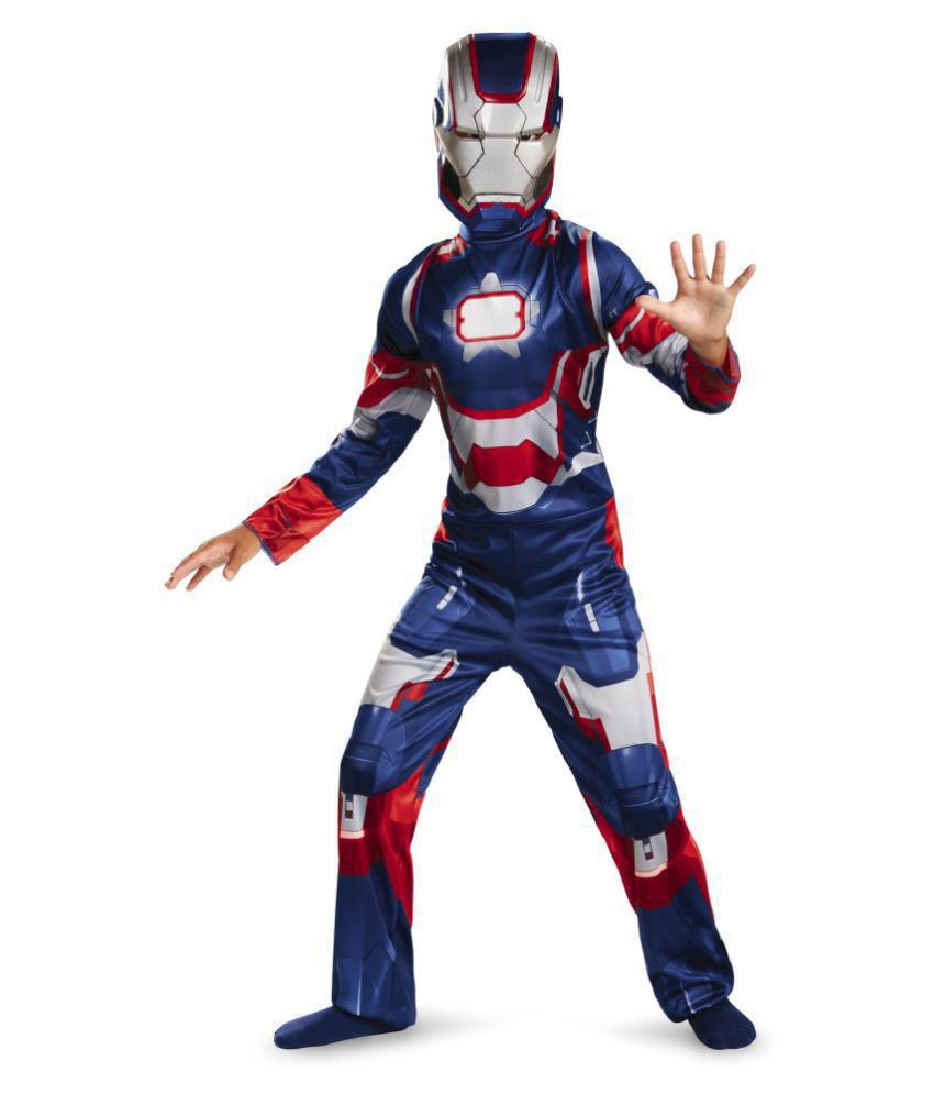 Fancydresswale Ironman War Machine Muscle dress with plastic Mask,Blue, 7-9  Years