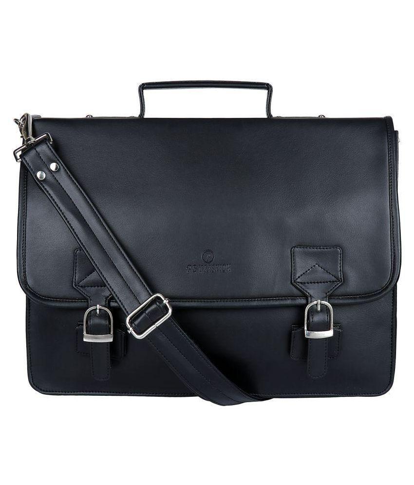 P&YFASHION Men's Office Bag Black P.U. Office Messenger Bag