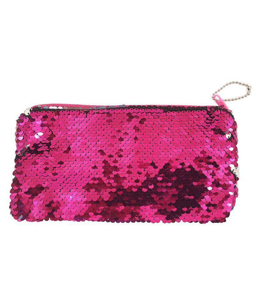 84b903c9cd4d Okayji Magic Mermaid Sequin Cosmetic Bag Flip Double Color Handbag Pouch  Glitter Pencil Case, 1- Piece (Pink)