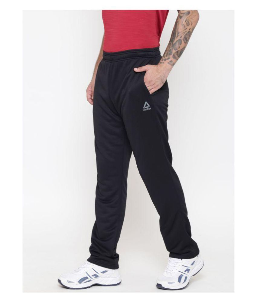 Reebok Black Polyester Lycra Trackpants For Gym Wear