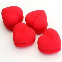 4 Pcs Soft Sponge DIY Red Heart-Shaped Hair Curler Roller Balls Hair Accessories