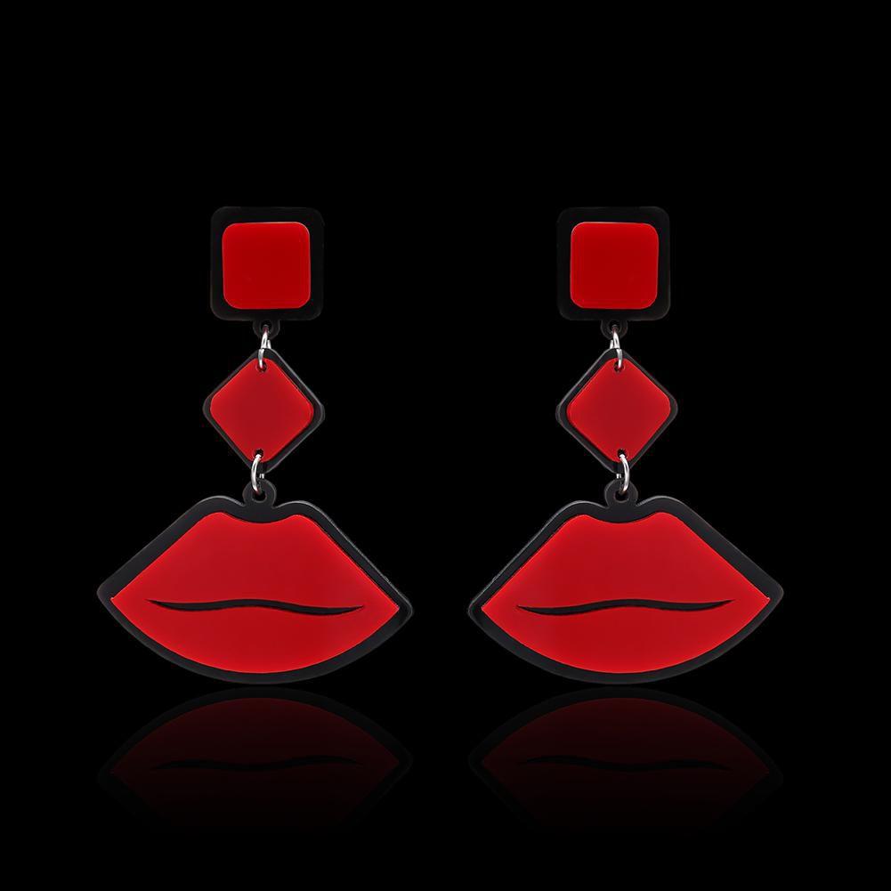 Women Vintage Red Lips Shape Pendant Dangle Stud Earrings Celebrity Jewelry Fashion Jewellery