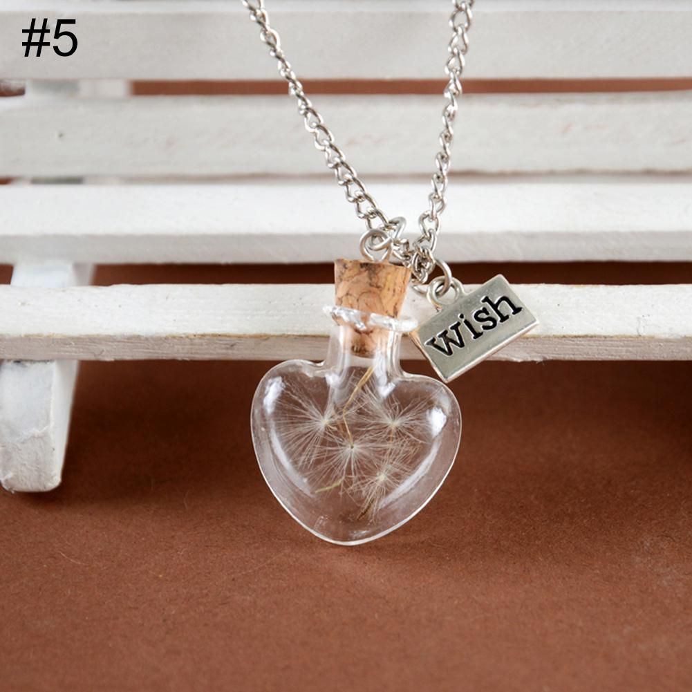 Unisex Dried Dandelion Bow-knot Pendant Glass Wish Bottle Long Chain Necklace Fashion Jewellery