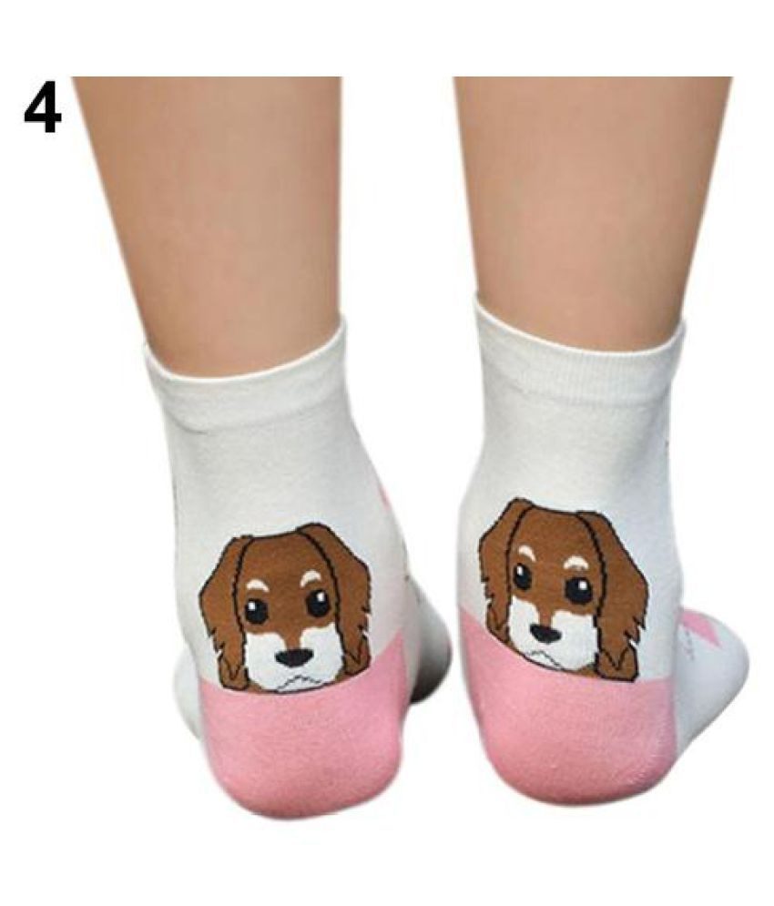 Women Girls Cute Puppy Dog Print Socks Stretchy Warm Ankle Socks Xmas Gift