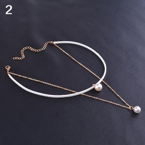 Lady Double Layer Imitation Pearl Charm Pendant Velvet Choker Collar Necklace Fashion Jewellery