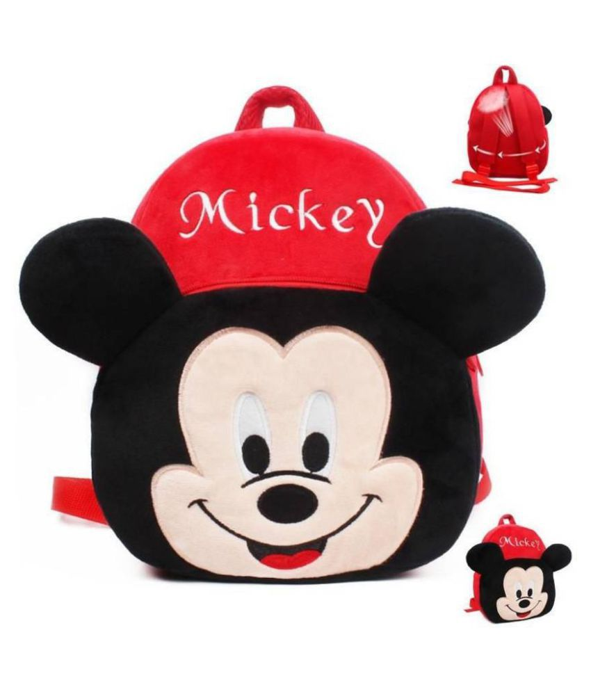 AVSHUB New Micky Velvet School Bag for Nursery Kids, Plush Bag  (Multicolor)