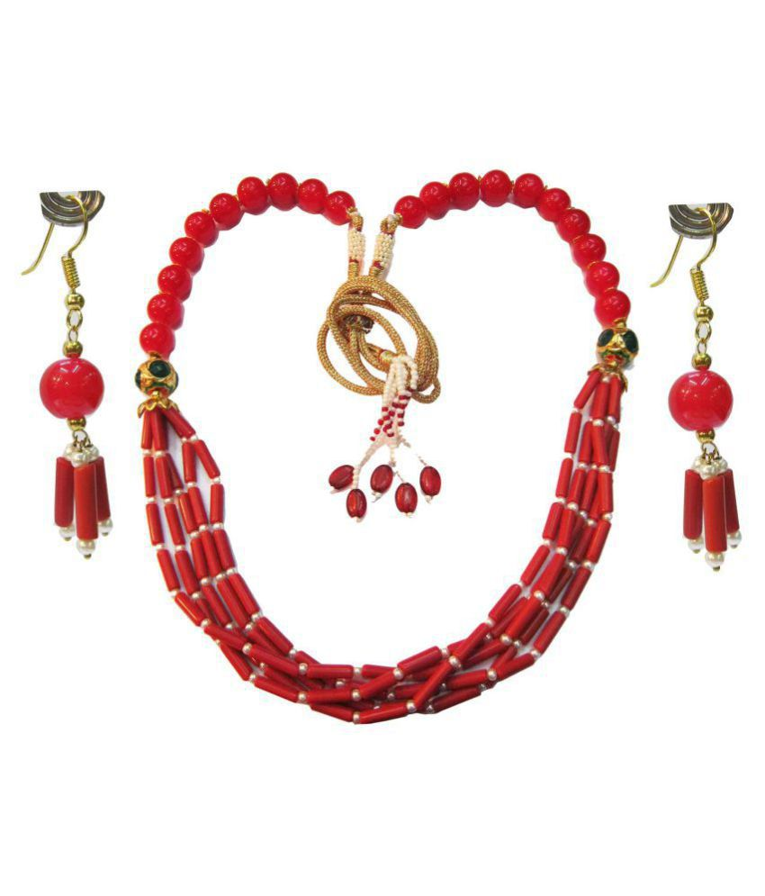 Vinayak Pearls Red Princess Traditional 18kt Gold Plated Necklaces Set