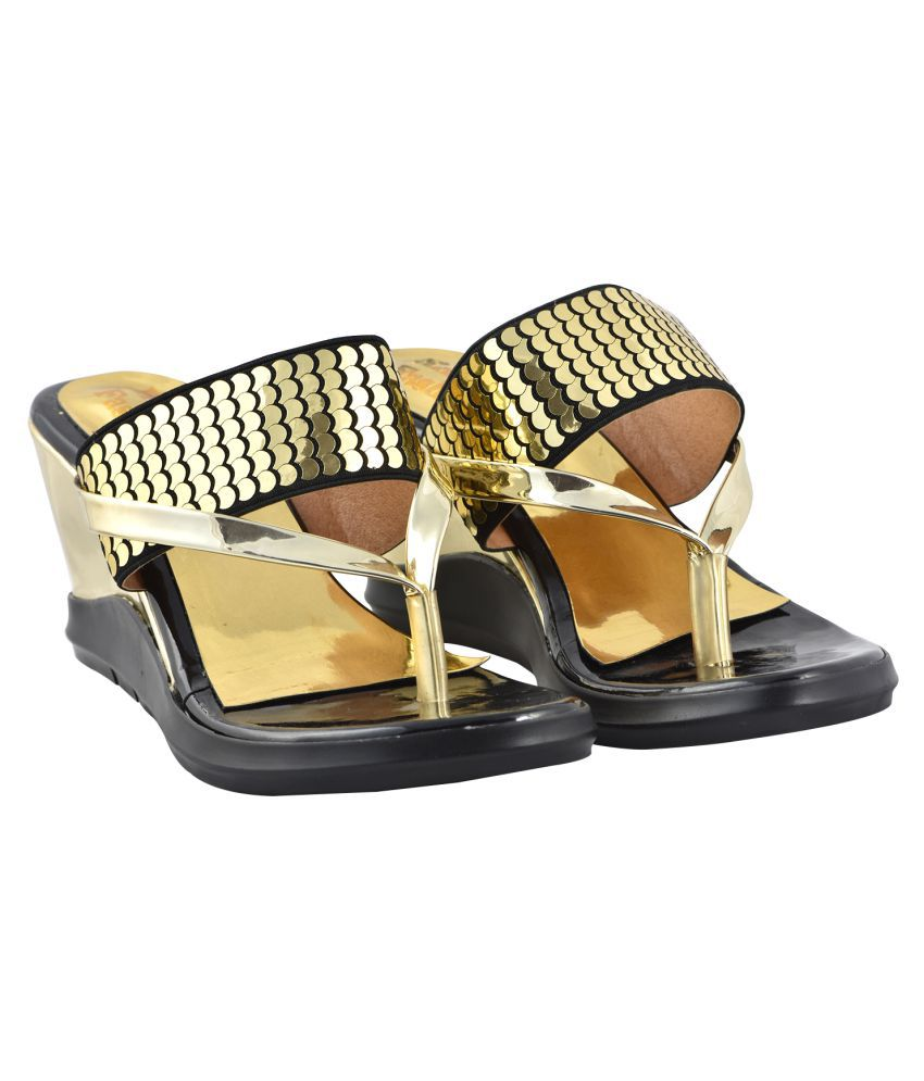raien fashion Gold Wedges Heels