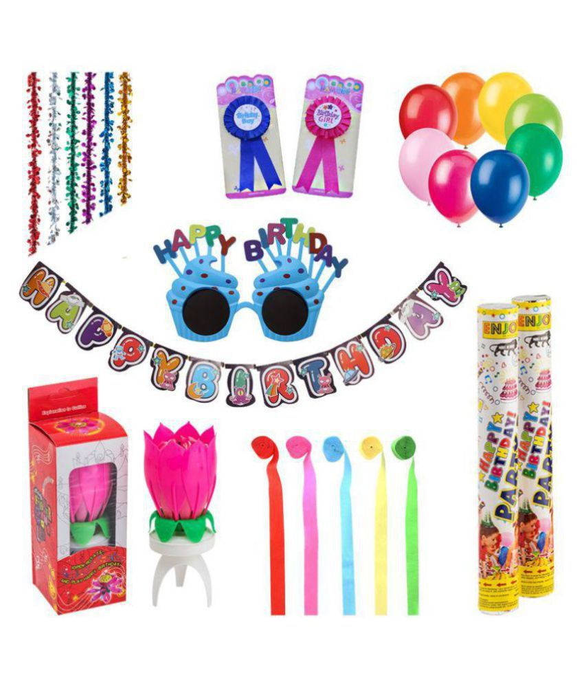 Enjoy Birthday Decorations Kit Of Balloons Banners Candle Party Poppers Ribbons Goggles Set 55