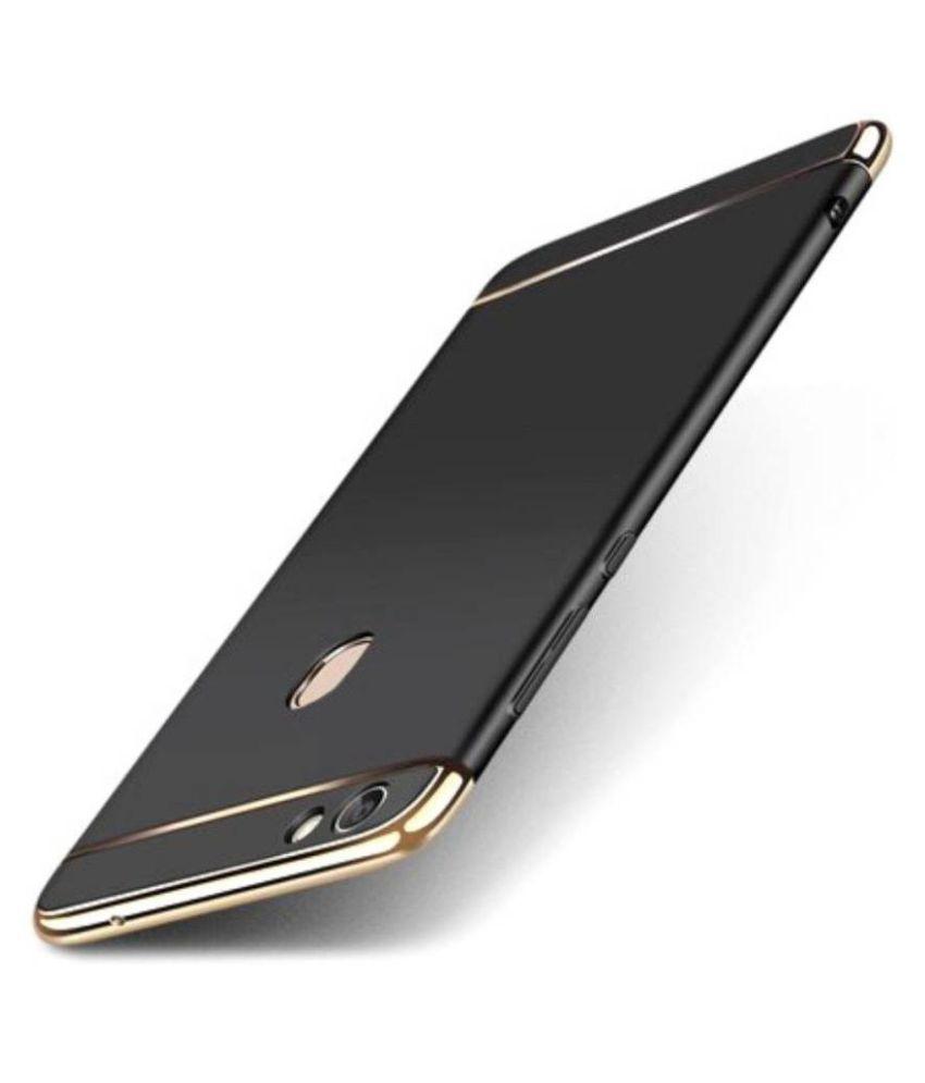 Vivo V5 Plain Cases Kosher Traders - Black 3 In 1 thin chromium glossy finish back cover
