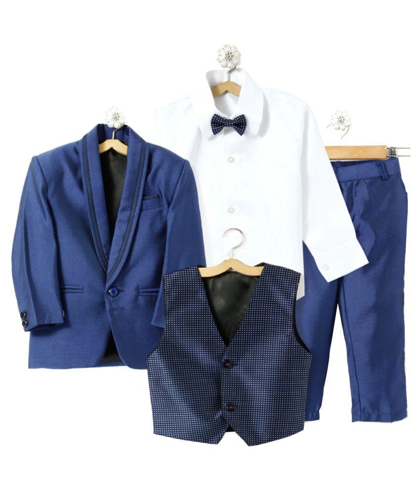 Jeet Blue Silk Boys Coat Suit Set