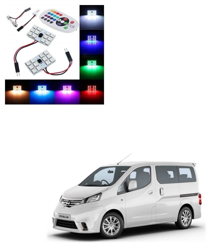 Auto Addict Car 12 LED RGB Roof Light with IR Remote Car Fancy Lights For Nissan Evalia