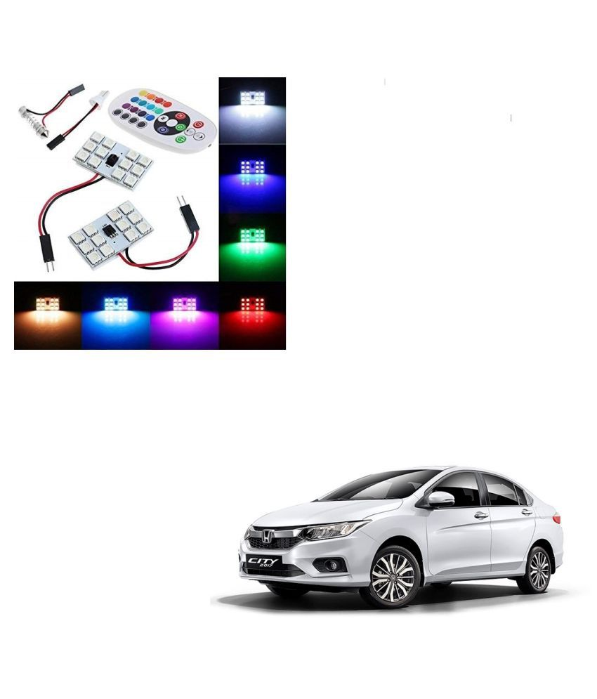 Auto Addict Car 12 LED RGB Roof Light with IR Remote Car Fancy Lights For Honda New City 2017