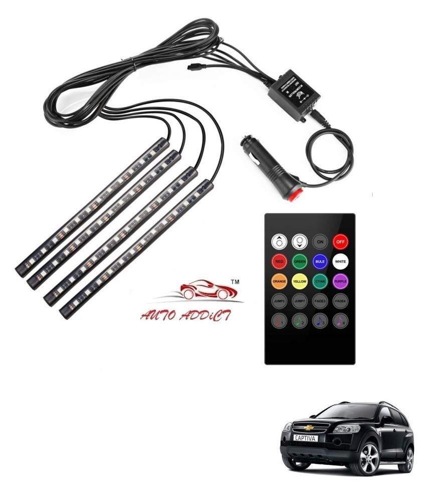 Auto Addict Car Atmosphere LED Lights 4pcs 48 LED DC 12V Multicolor Music Car Strip Light Interior LED Under Dash Lighting Kit without Sound Active Function and Wireless Remote Control For Chevrolet Captiva