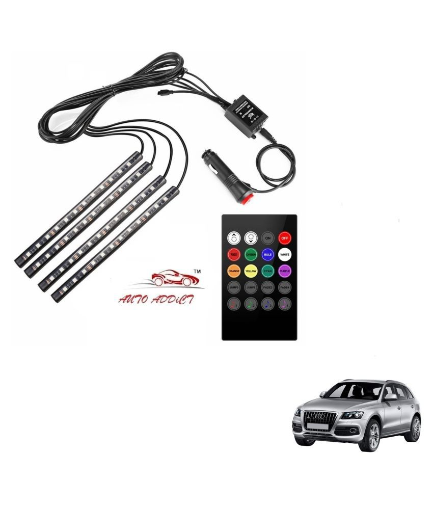 Auto Addict Car Atmosphere LED Lights 4pcs 48 LED DC 12V Multicolor Music Car Strip Light Interior LED Under Dash Lighting Kit without Sound Active Function and Wireless Remote Control For Audi Q5