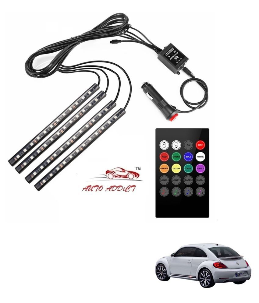 Auto Addict Car Atmosphere LED Lights 4pcs 48 LED DC 12V Multicolor Music Car Strip Light Interior LED Under Dash Lighting Kit without Sound Active Function and Wireless Remote Control For Volkswagen Beetle